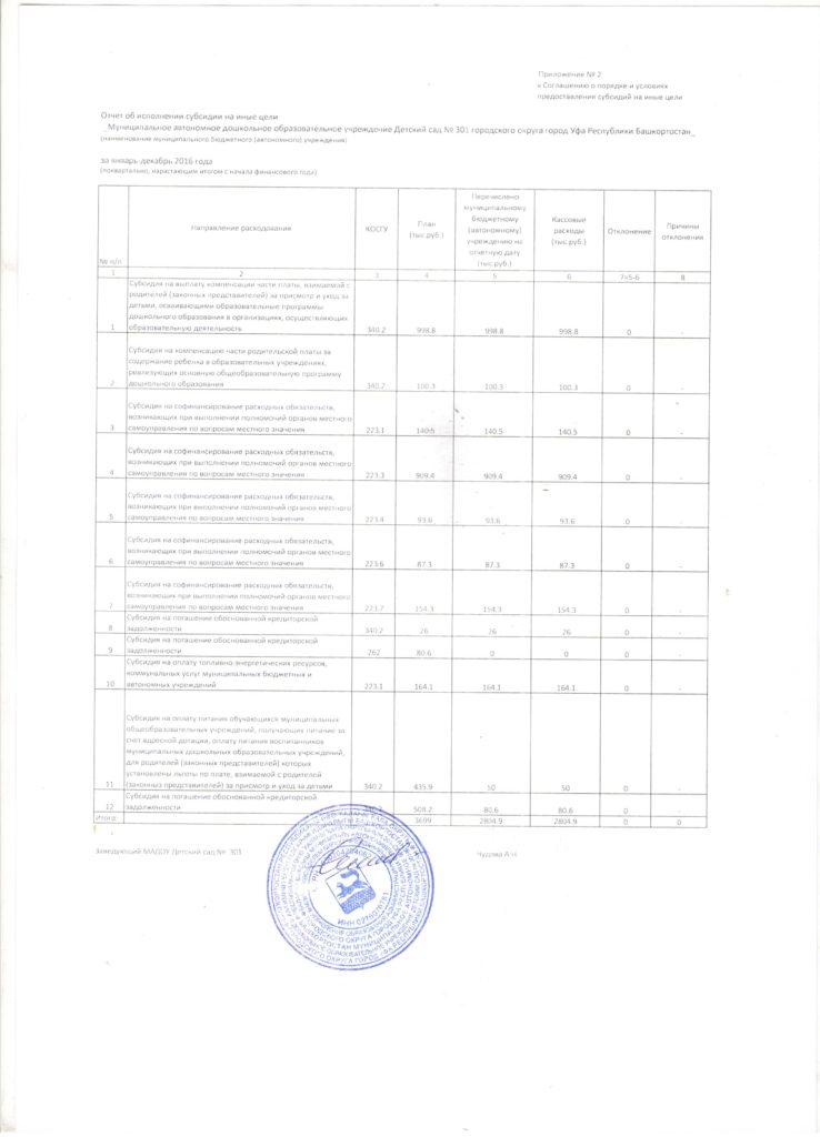 Отчет об исполнении субсидии на иные цели за январь-декабрь 2016 года